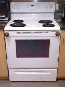 old white stove