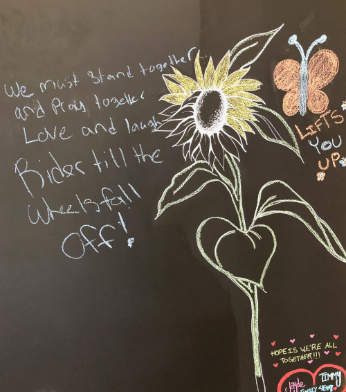 Half-completed chalk drawing of a sunflower